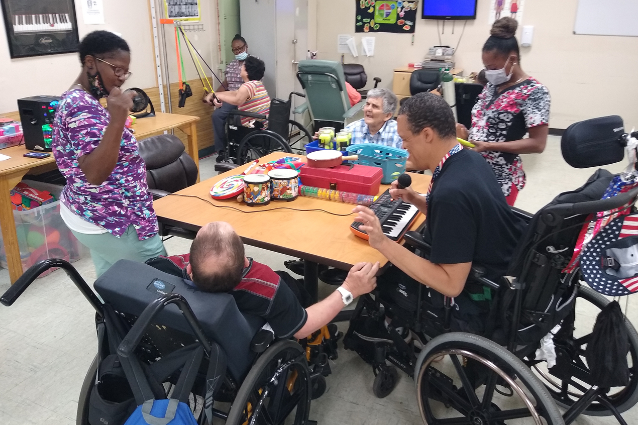 wood house residents engaged in activity